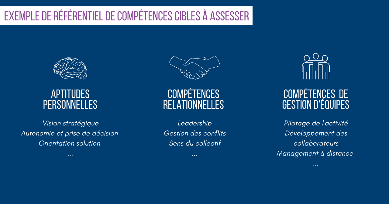 Assessment individuels : exemples des compétences cibles à assesser